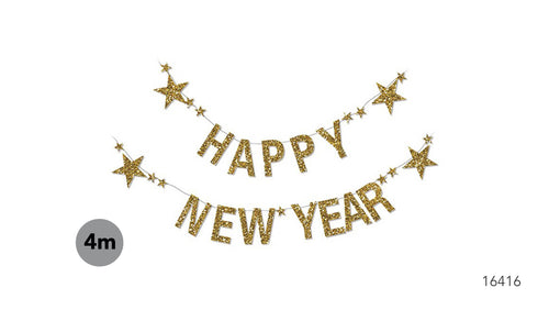 Happy New Year Banner Glittery Gold with Stars