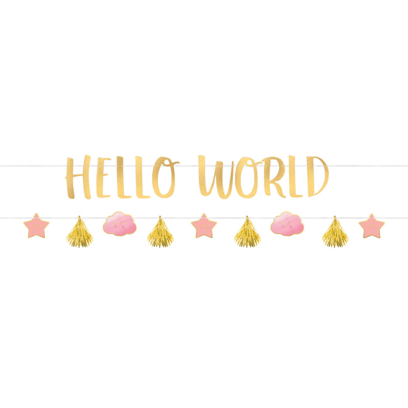 Hello World 2 banner kit - pink & gold