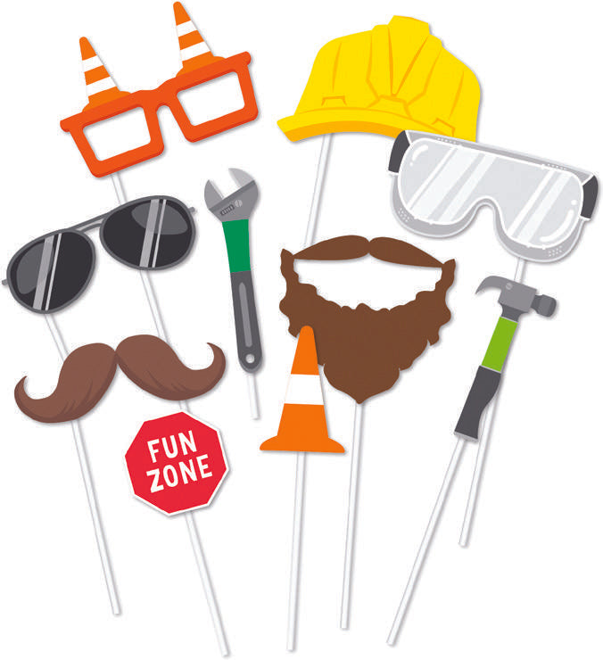 Construction party photo props