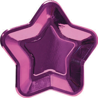 Star shape paper plates - Pink