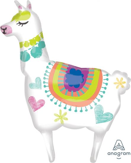 Llama Supershape Anagram Foil Balloon