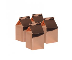 Milk Box Party Favours Metallic Rose Gold