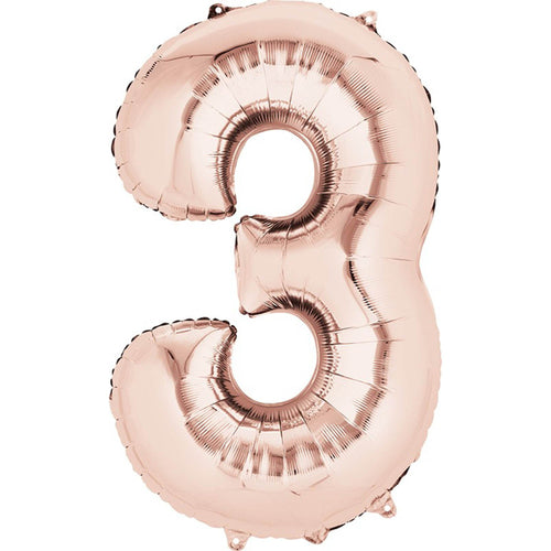 Number 3 Foil Balloon Rose Gold - Jumbo