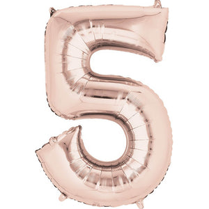 Number 5 Foil Balloon Rose Gold - Jumbo