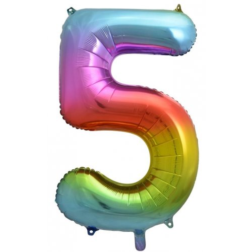 Number 5 Foil Balloon Rainbow - Jumbo