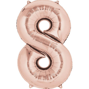 Number 8 Foil Balloon Rose Gold - Jumbo