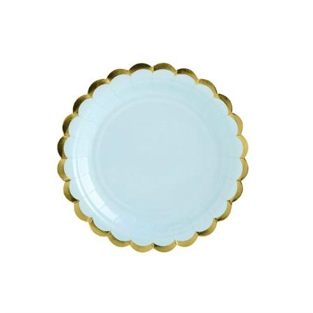 Pale Blue paper plates with Gold Scallop Edging-Lunch
