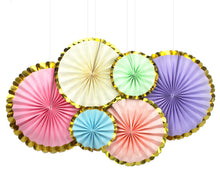 Paper Fan Set Pastel Mix with Gold Trim