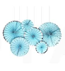 Paper Fan Set of 6 Pastel Blue & Silver
