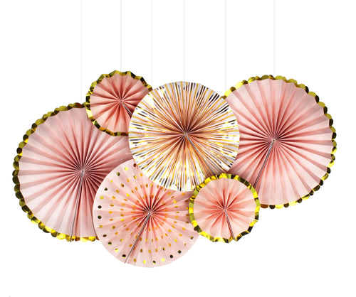 Paper Fan Set of 6 Peach and Gold