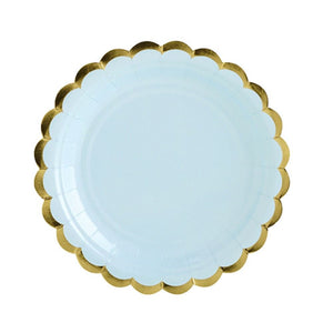 Pale Blue paper plates with Gold Scallop Edging - Dinner