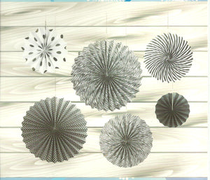 Paper Fan Set-Black and White