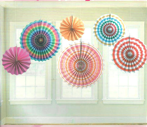 Paper Fan Set-Rainbow Stripes