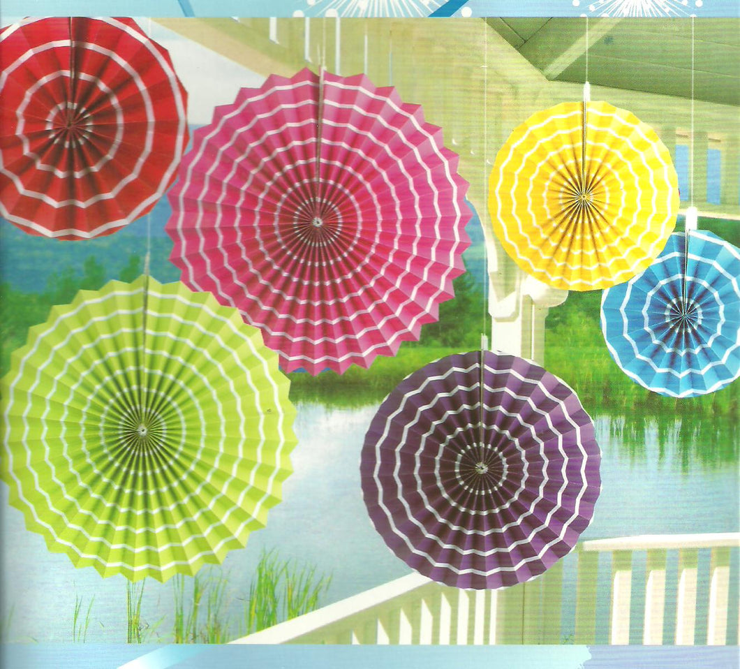 Paper Fan Set-Rainbow Swirl