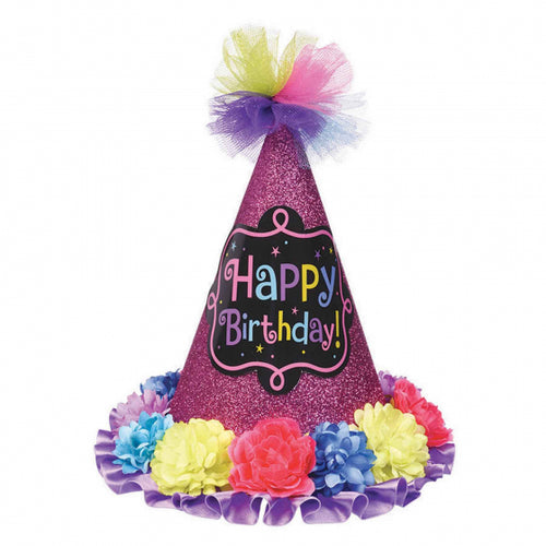 Birthday Chic Cone Glitter Party Hat