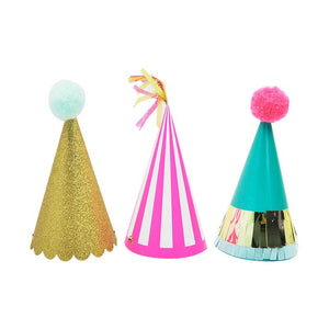 Party Hat Trio-pom poms n tassels