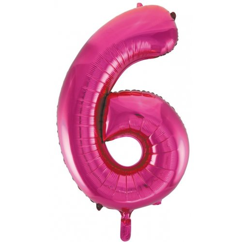 Number 6 Foil Balloon Pink - Jumbo