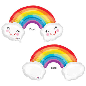 Rainbow & Cloud Supershape Foil Balloon