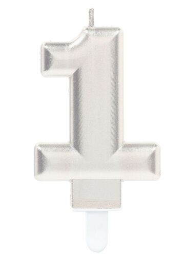 Silver Number 1 Candle