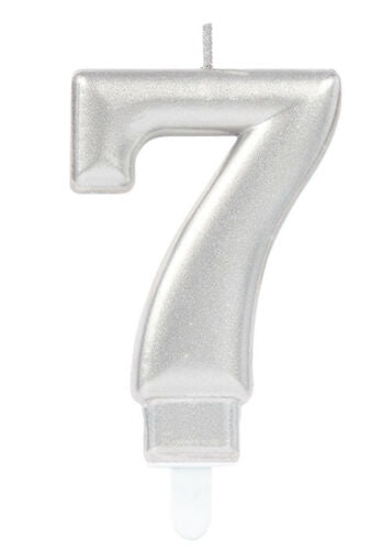 Silver Number 7 Candle