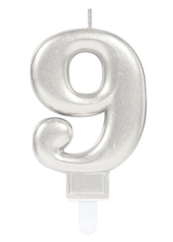 Silver Number 9 Candle