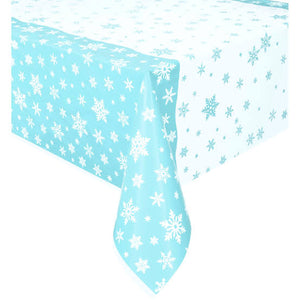 Snowflake printed plastic tablecover