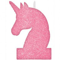 Unicorn birthday glitter candle