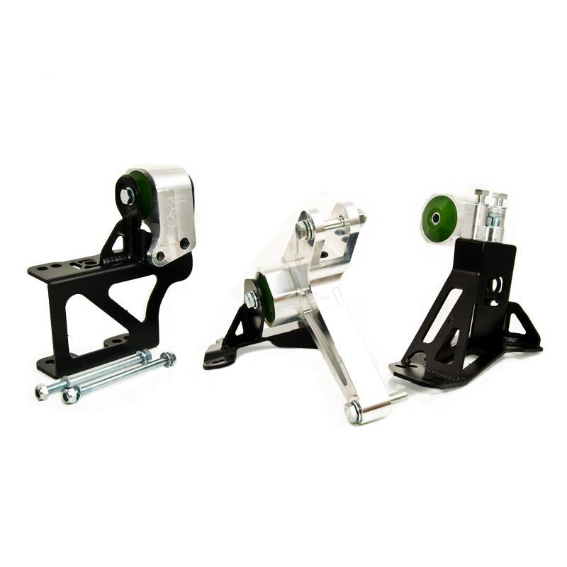 Hybrid Racing Billet K-Series Engine Swap Mount Kit (92-95 Civic & 94-01 Integra) Clear Anodized Aluminum (Silver) / 75A Street (HR Edition GREEN) INO-B90150-75A-HR