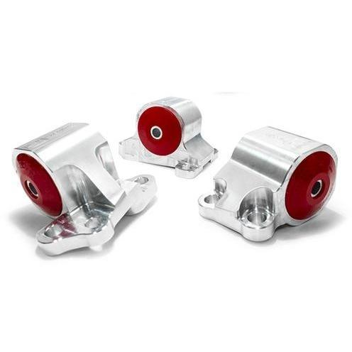Innovative Mounts - B/D-Series Billet Replacement Engine Mount Kit (92-95 CIVIC / 94-01 Integra) 60A STREET (RED) / Silver INO-B19550-60A