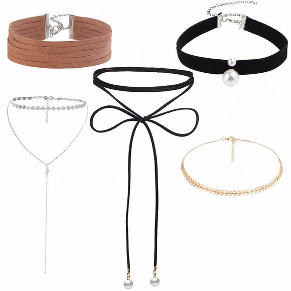 Ava 5Pcs Chokers Necklaces Set