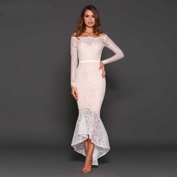 Cordelia White Lace Bandage Dress