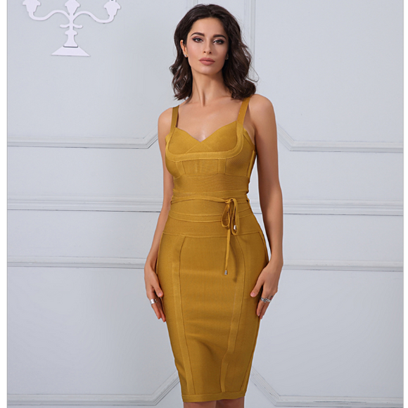 Zinnia Bandage Dress (Golden Yellow/ Black/ White/ Deep Orange/ Red/ Nude/ Lilac Pink)
