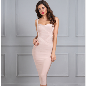 Arianna Bandage Dress (Nude/ Black/ Red/ White/ Yellow/ Orange/ Royal Blue/ Sky Blue/ Green/ Pink/ Purple)