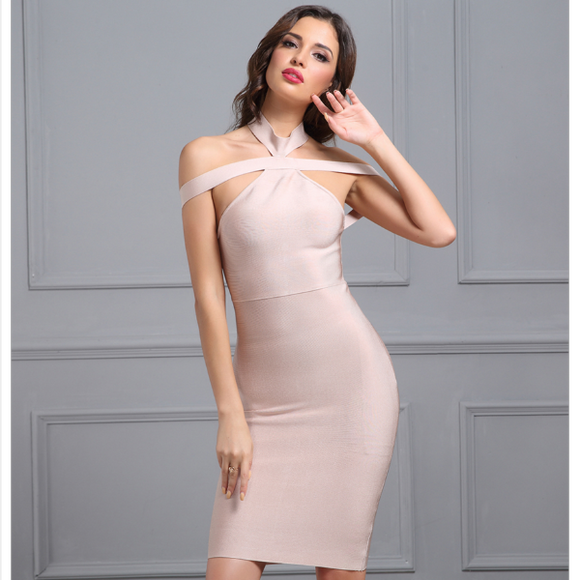 Trinity Bandage Dress (Apricot/ White/ Blue/ Red/ Black)