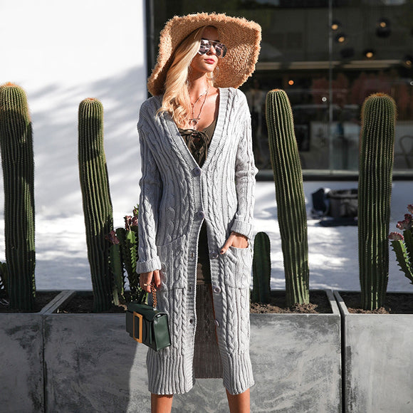Miriam Knitted Long Sweater Cardigan (Grey/ White/ Army Green)