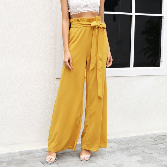 Danielle High Waist Loose Wide Leg Pants - Yellow