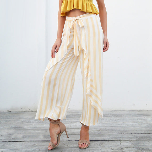 Heidi Stripe Ruffle High Waist Wide Leg Pants (Blue/ Yellow)