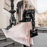 Anaya Satin High Waist Elastic Pleated Long Skirt (Pink/ Black/ Silver)