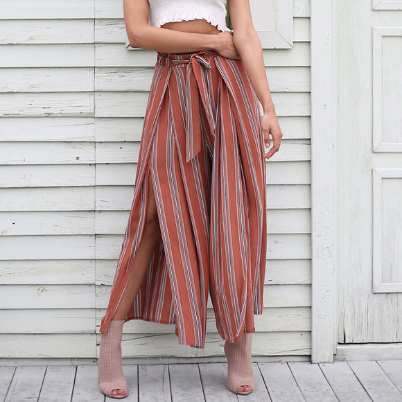 Jenna High Waist High Split Stripe Wide Leg Pants (Brick Red/ Black/ Grey)
