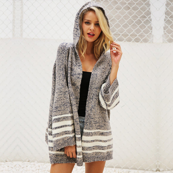 Carly Hooded Knitted Sweater Cardigan
