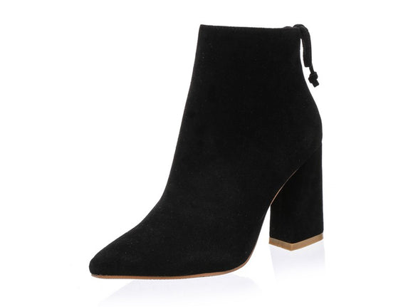 Alena Black Suede Pointed Toe Ankle Boots