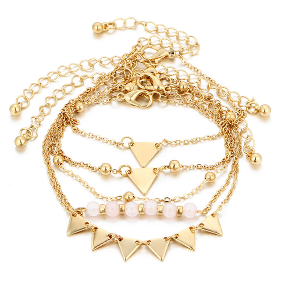 Jaylah 5Pcs Beaded Gold Chain Bracelet Set