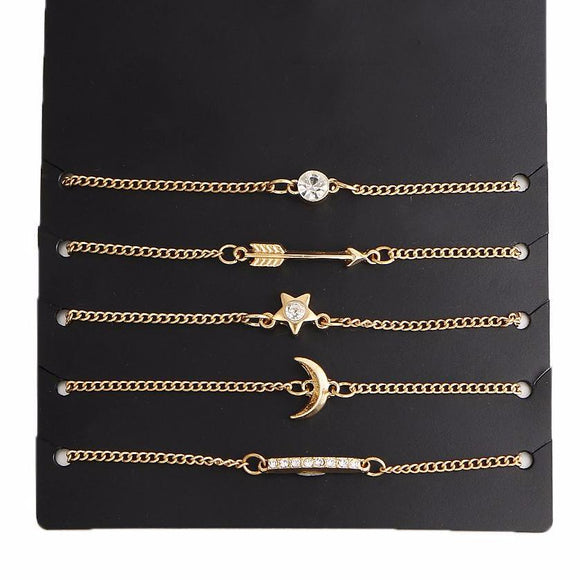 Cassie 5Pcs Gold Crystal Chain Bracelet Set