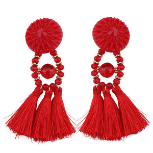 Monica Tassel Earrings (Red/ Blue/ Black/ Brown/ Purple/ Pink/ Green/ White/ Yellow)