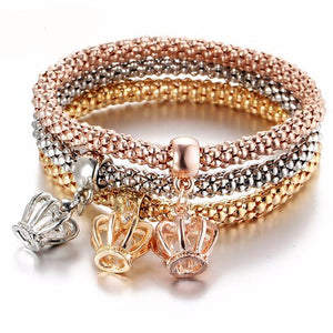 Mia 3Pcs Crystal Crown Elastic Bracelet & Bangle Set