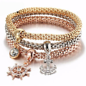 Mia 3Pcs Crystal Marine Elastic Bracelet & Bangle Set