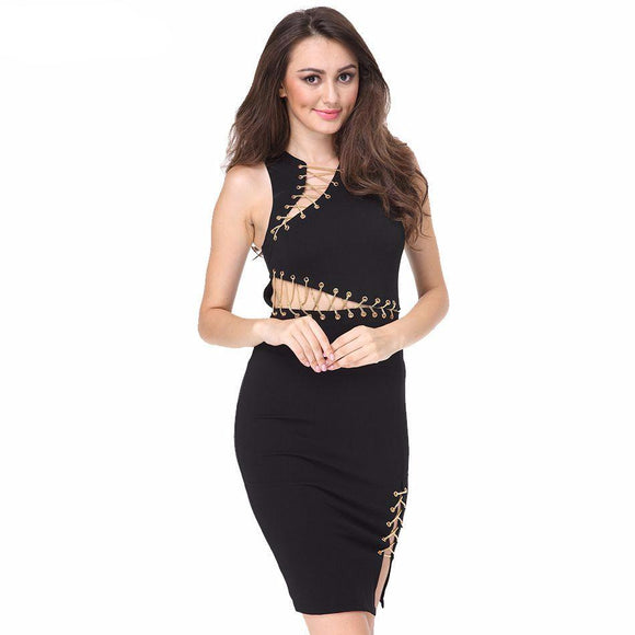 Clarissa Black Bandage Dress
