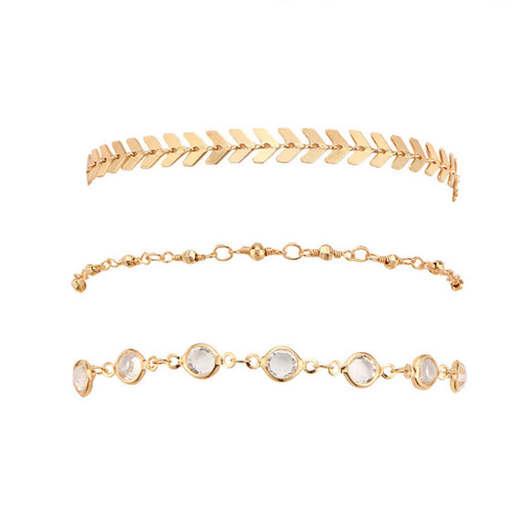 Karen 3Pcs Gold Crystal Bead Bracelet Set