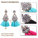 Cynthia Crystal Tassel Earrings (Pink/ Red/ Black/ Green/ Blue/ Apricot/ White)