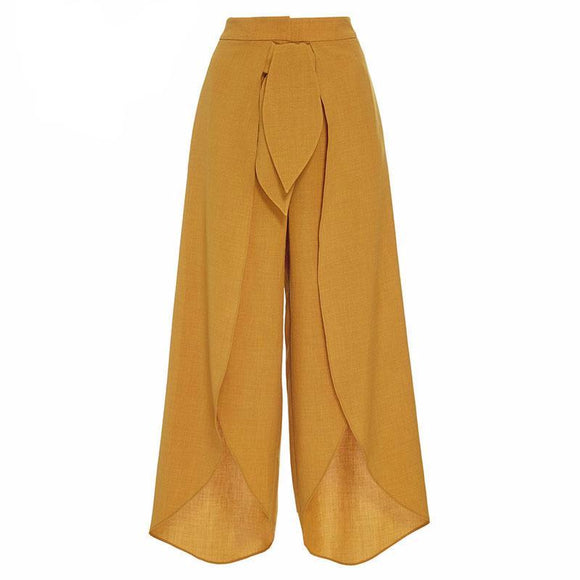 Sofia Mid Waist Wide Leg Pants (Green/ Yellow)
